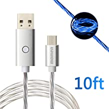 momen Android Charger Cable, Micro USB Cable 10FT, Fast Charging LED Micro USB Charger for Samsung Galaxy S7 Edge/S7/S6, HTC, LG, Sony, Xbox One, PS4 & More Android Smartphones (Blue Light)