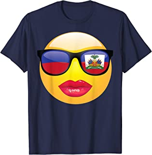 Cute Funny Red Lipstick Emojis With Haitian Flag Shirt Gift