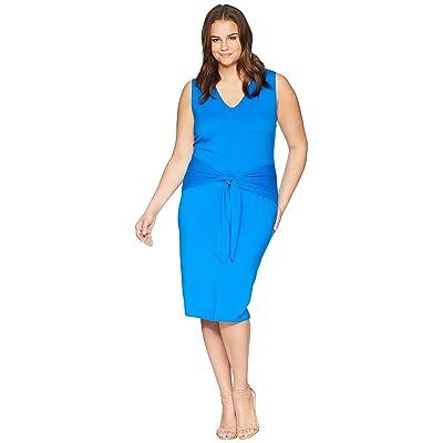 LAUREN Ralph Lauren Plus Size Tie-Front Sleeveless Dress (Vivid Cyan) Women