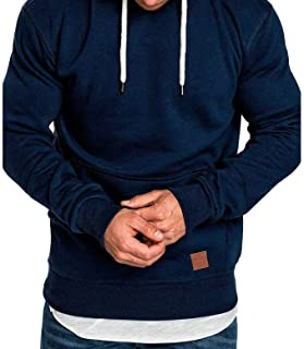 jin&Co Mens Casual Hooded Sweatshirts Solid Color Drawstring Autumn Winter Active Sport Pullover with Front Pockets Navy