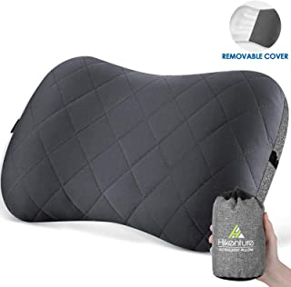 Hikenture Camping Pillow with Removable Cover - Ultralight Inflatable Pillow for Neck Lumber Support - Upgrade Backpacking...