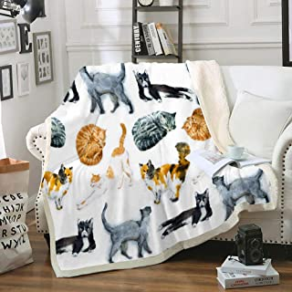 Cat Blanket Cute Kitty Throw Blanket Kids Teen Sherpa Fleece Blanket Cat Lover Throws Pet Themed Soft Cozy Fuzzy Blanket for Bed Couch Living Room (Cat, Twin(60x80))