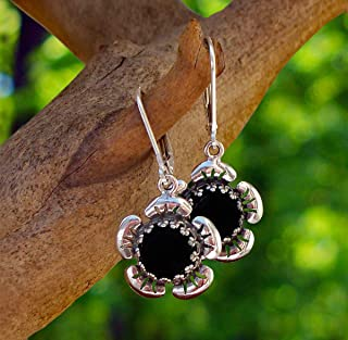 Recycled Antique Black Depression Glass Sterling Silver Flower Leverback Earrings