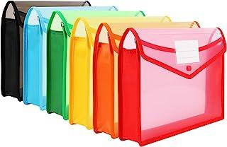 Pochette Plastique,6pcs Haute Qualité imperméable Enveloppe Transparente Chemise à Bouton Pression Polypropylène Porte-Doc...