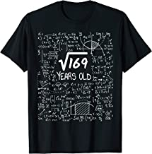 13th Birthday Gift T-Shirt, Square Root of 169: 13 Years Old