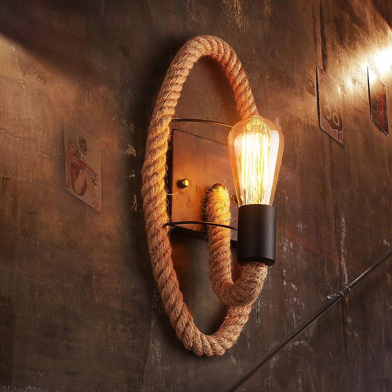 Amerikanisches Land-Gangseil-Seil-Retro- Balkontreppe kreatives Nachttischlampen-personalisiertes Stangeneisen (Gestalten   Oval (with LED retro bulb))