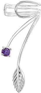 Tuscany Silver 女式标准纯银 3 mm 方晶锆石和金属叶形耳坠