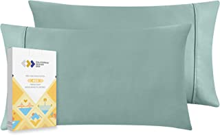 400 Thread Count 100% Cotton Pillow Cases, Green Sage Standard Pillowcase Set of 2, Long - Staple Combed Pure Natural Cott...