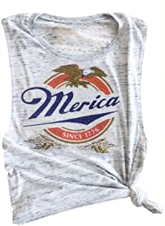Women Tank Tops Sleeveless Merica Since 1776 Racerback T-Shirt Vest for Independence Day