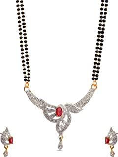 Zephyrr Jewelry Mangalsutra AD Pendent Neclace for Women/Wife Black and Golden Floral Design Indian Jewelry Casual/Party/D...