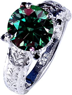 3.77 ct VS1 Round Moissanite Solitaire Silver Plated Engagement Ring Green Color Size 7.