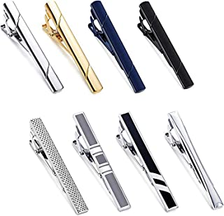 Yadoca 8 Pcs Tie Clips Set for Men Tie Bar Clip Black Silver-Tone Gold-Tone for Wedding Business with Gift Box