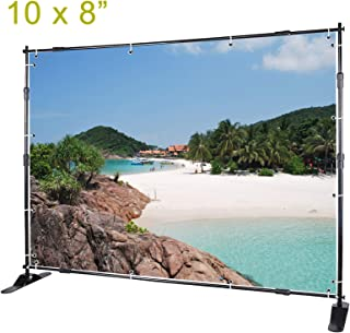 Voilamart Step and Repeat Display Backdrop Banner Stand 10` x 8` Adjustable Telescopic Display Backdrop Stand for Trade Show, Photo Booth, Wall Exhibitor Background with Carrying Bag