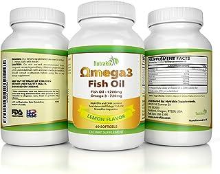 New Formula!! Omega 3 Fish Oil Supplement Softgels - 2 Months Supply - 1200mg EPA/DHA: 720mg - Lemon Flavor - for Full Body