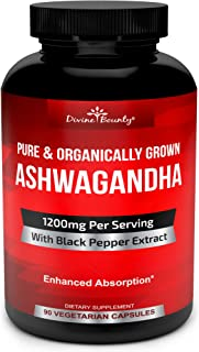 Organic Ashwagandha Capsules - 1200mg Ashwagandha Powder with Black Pepper for Enhanced Absorption - Ashwaganda Supplement for Anti Anxiety, Adrenal Support, Cortisol Manager, Stress & Anxiety Relief