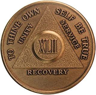 42 Year Antique Bronze AA (Alcoholics Anonymous)-Sober-Sobriety-Birthday-Medallion-Chip-Challenge