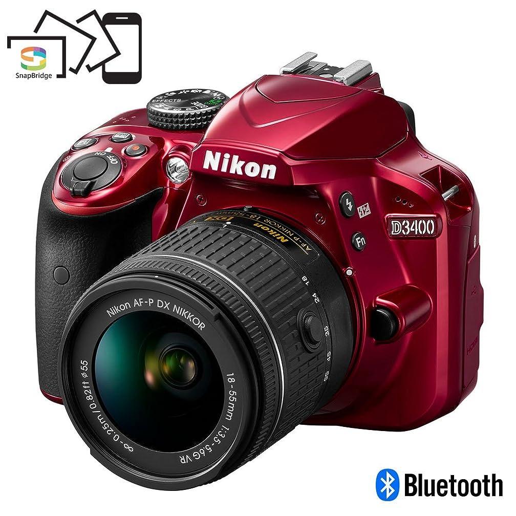 Nikon D3400 Digital SLR Camera & 18-55mm VR DX AF-P Zoom Lens (Red) - (Renewed)
