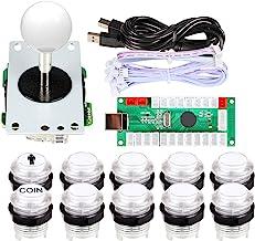 EG STARTS Arcade DIY Kits Parts USB Encoder to PC Games 5Pin Joystick + 2X 24mm + 8X 30mm 5V LED Illuminated Push Buttons ...
