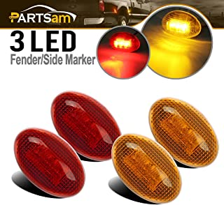 Partsam 2X Amber + 2X Red Side Fender Marker Assembly Replacement for Ford F350 F450 F550 1999-2010 Full Kit Dually Bed Fender Side Marker Lights LED Ford Super Duty Aftermarket Front Rear