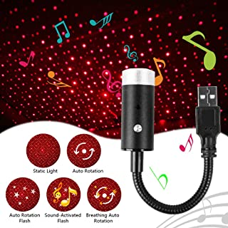 USB Star Light with 360 Degree Rotation and Sound Activated, Aevdor Auto Roof Lights, Romantic Violet Blue Interior Car Lights, USB Night Light Decorations for Car, Ceiling, Bedroom (Red)