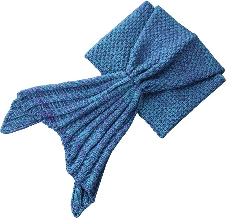 Moxeay Knitted Mermaid Tail Blanket Handmade Living Room Sleeping Blanket