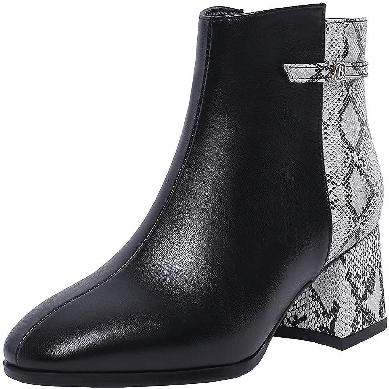 Ghapwe Women's Strap Snake Pattern Square Toe Medium Block Heels Side Zipper Ankle Boots Black 8 M US
