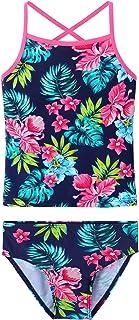 TFJH E Girls Swimwear 2pcs Sling Bathing Suits Rashguard Set Swimming Clothes Navy Flower 10A