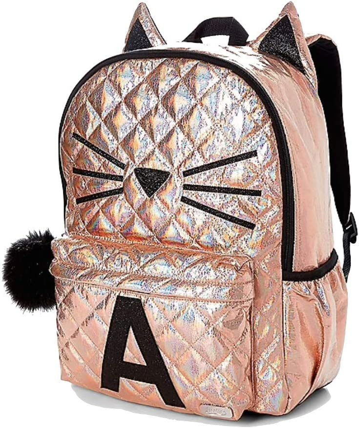 Justice Girls Rose Gold Quilted Backpack Regular Full Size Book Bag BRAND NEW