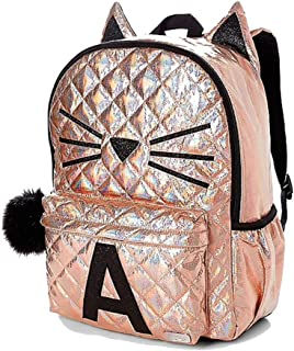 School Backpack Rose Gold Quilted Cat Initial (Letter H)