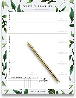 Bliss Collections Weekly Planner Pad Tear Off Greenery Design, 50 Undated Pages, To Do List, Desk Notepad, Week Day and Weekend Organizer and Scheduler, Habit Tracker, 8.5x11, Vertical Orientation