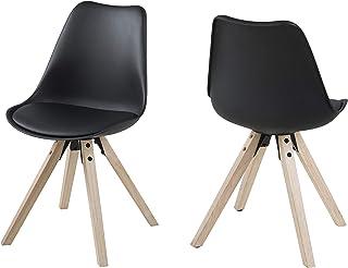 Amazon Brand - Movian Arendsee - Juego de 2 sillas de comedor 55 x 485 x 85cm negro
