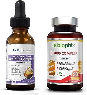 Sponsored Ad - Fresh Green Black Walnut Wormwood Extract 2 oz - Free Vitamin C-1000 - Natural Digestive Cleanse | Intestin...