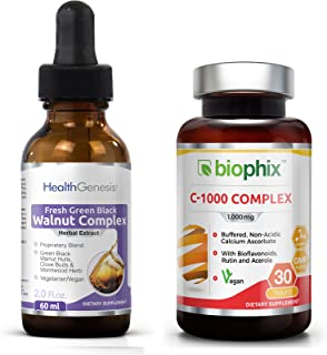 Fresh Green Black Walnut Wormwood Extract 2 oz - Free Vitamin C-1000 - Natural Digestive Cleanse   Intestinal Cleansing   Detoxifying with Potent Herbs Cleanser   Colon Health