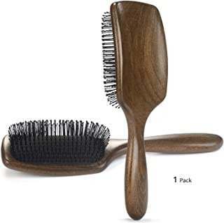 BESTOOL Hair Brush-Detangler Brush with Ultra Soft Flexible Nylon Bristles, Curved Natural Wooden Paddle Brush Detangle Women, Men, Kids Wet & Dry Hair, Anti-static, Less Breakage, More Shine & Health