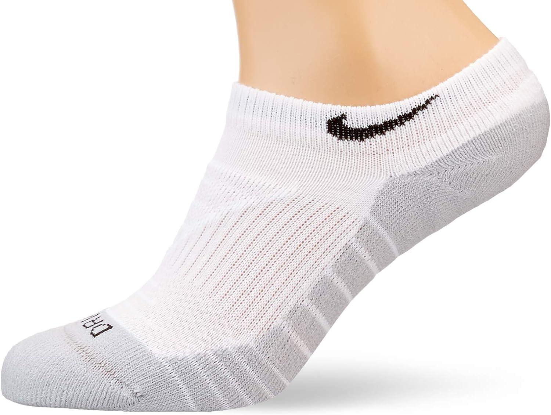 Nike Mens Low Cut Dri-Fit Cotton Cushioned Socks (Large, White/Heather/Black) 3 Pairs