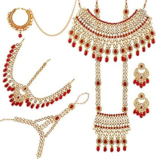 Indian Bridal Jewelry Set Faux Kundan Long Choker Necklace Dangle Earrings Mathapatti Headpiece Haath Phool with Nose Ring (Red)