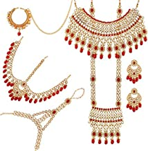 Aheli Indian Bridal Jewelry Set Faux Kundan Long Choker Necklace Dangle Earrings Mathapatti Headpiece Haath Phool with Nose Ring (Red)