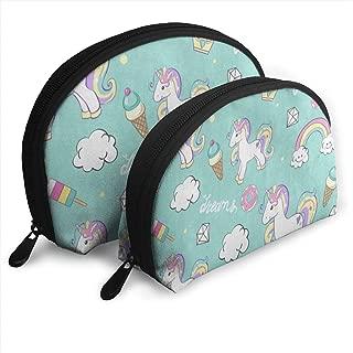 Makeup Bag Beautiful Unicorn Ice Cream Donut Rainbow Handy Half Moon Cosmetic Bags Case For Women