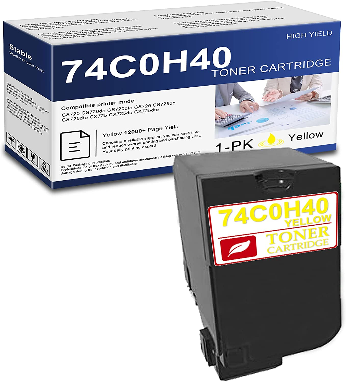 1 Pack Yellow 74C0H40 Compatible High Yield Toner Cartridge Replacement for Lexmark CS720 CS720de CS720dte CS725 CS725de CS725dte CX725 CX725de CX725dte Printer.