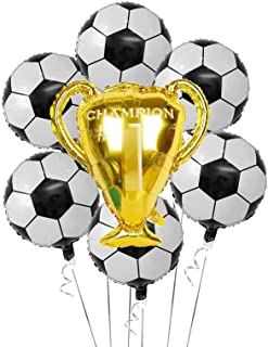 Soccer Party Balloons Set, 7pcs Championship Trophy Balloon and Soccer Foil Balloons for Birthday Baby Shower Wedding Anni...