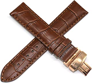 22MM Alligator Grain Genuine Leather Watch Strap 8 Inches Brown with Rose Gold LP Initial Clasp