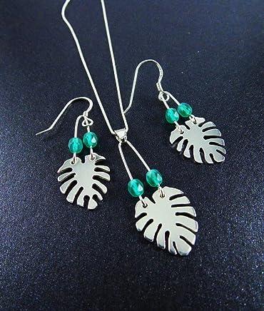 Juego de joyas de plata 925 Hecho a mano Inspirado por la planta tropical Monstera de nuestro país Costa Rica