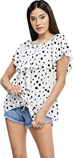 Women's Off Shoulder Polka Dot Top with Ruffled Bodice and Front Waist Tie