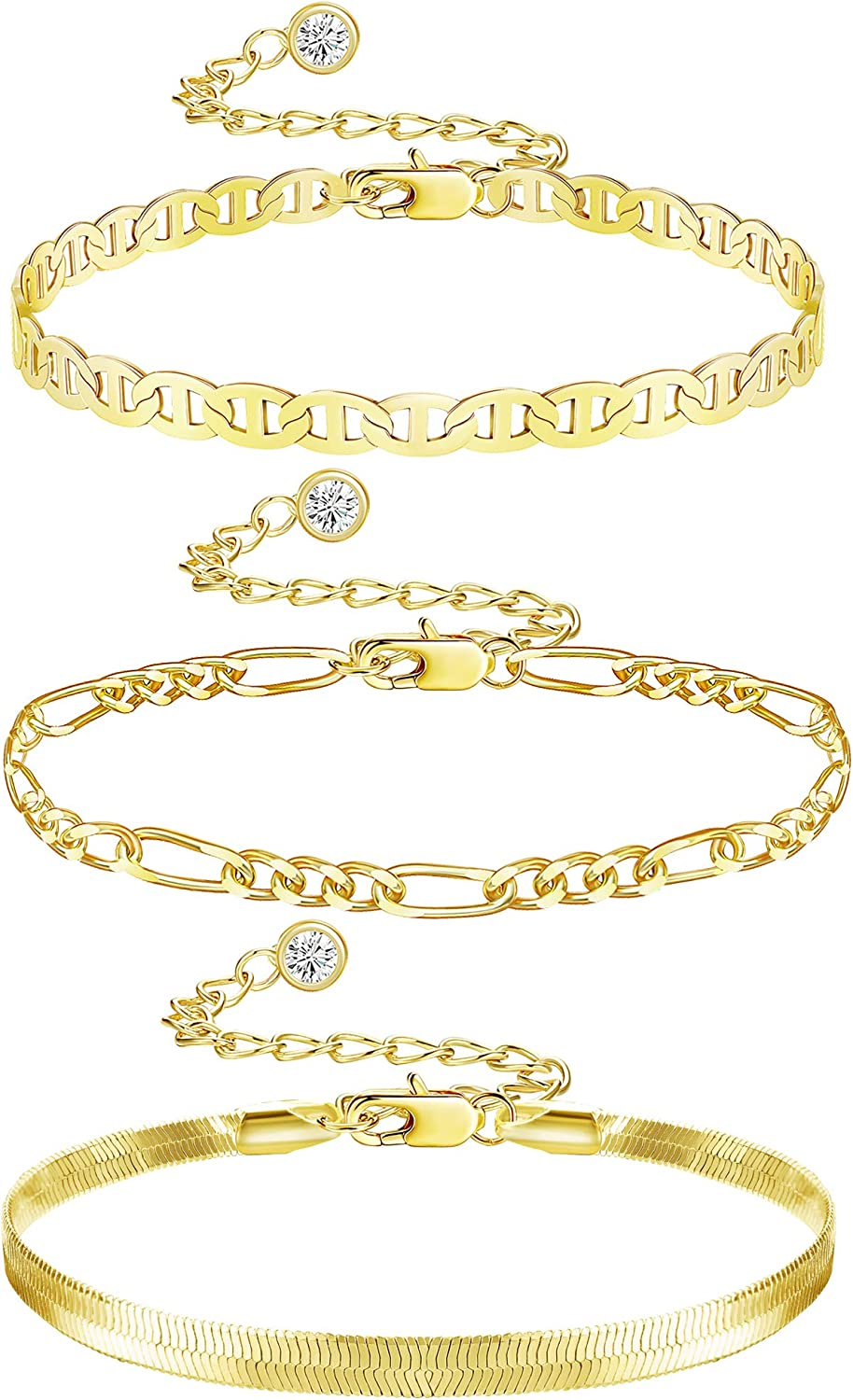 HAIAISO 14K Gold Plated Adjustable Layered Bracelets Gold Chain