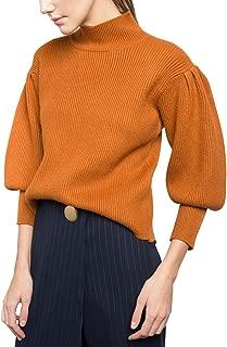 Womens Retro Orange Lantern Sleeve Mock Turtleneck Vintage Sweater