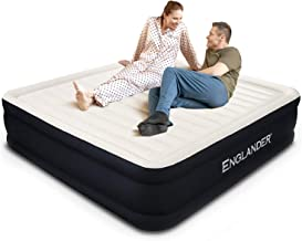 Englander First Ever Microfiber California King Air Mattress, Luxury Microfiber airbed with Built-in Pump, Highest End Blow Up Bed, Inflatable Airbed for Guests Home Travel 5-Year Warranty (Black)