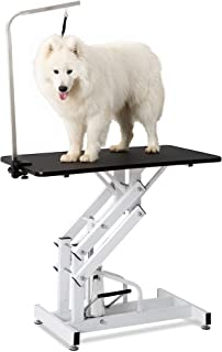 """Rhomtree 42"""" Z-Lift Hydraulic Dog Cat Pet Grooming Table Heavy Duty Big Size with Adjustable Arm Noose"""