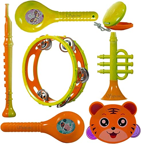 Supreme Deals BPA Free Non Toxic Musical Instruments Musical Instruments Rattle for New Borns Maraca Blowing Trumpets Tambourines Castanets for Babies Toddlers Infants Child Set of 7