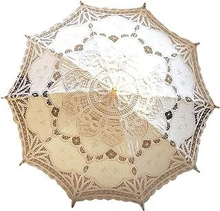 Lace Wedding Umbrella Parasol For Bride Cotton Fashion Wooden Handle Decoration Umbrella Ivory