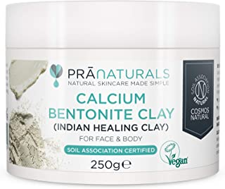 PraNaturals Bentonite Clay Mask, Natural Deep Skin Pore Cleansing Montmorillonite Calcium Active Pure Clay Mask Powder, Detox Anti-Ageing and Healing Facial Beauty Mask (250g Pot)